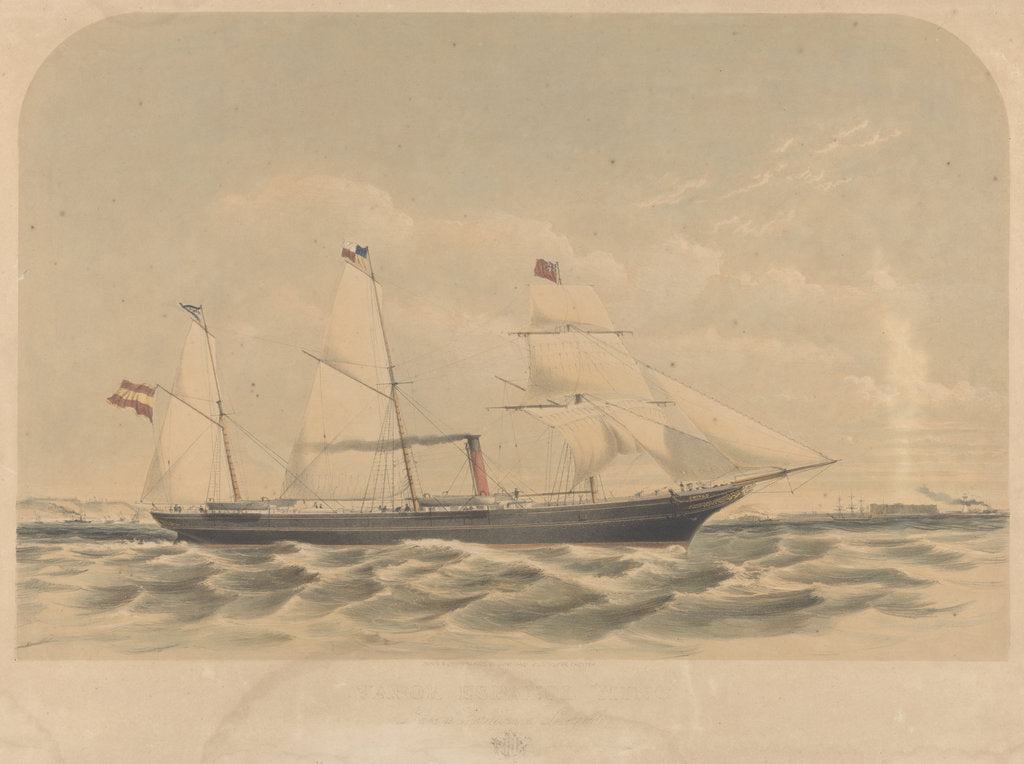 Detail of Lithograph of the Spanish vessel 'Mino' (1870) by J. McCahey