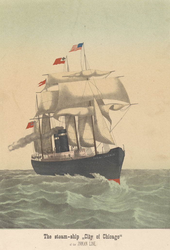 Detail of The steam-ship 'City of Chicago' of the Inman Line by unknown