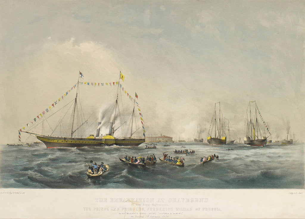 The embarkation at Gravesend of the Prince and Princess Frederick William of Prussia, in HMY 'Victoria & Albert' by Walter William May