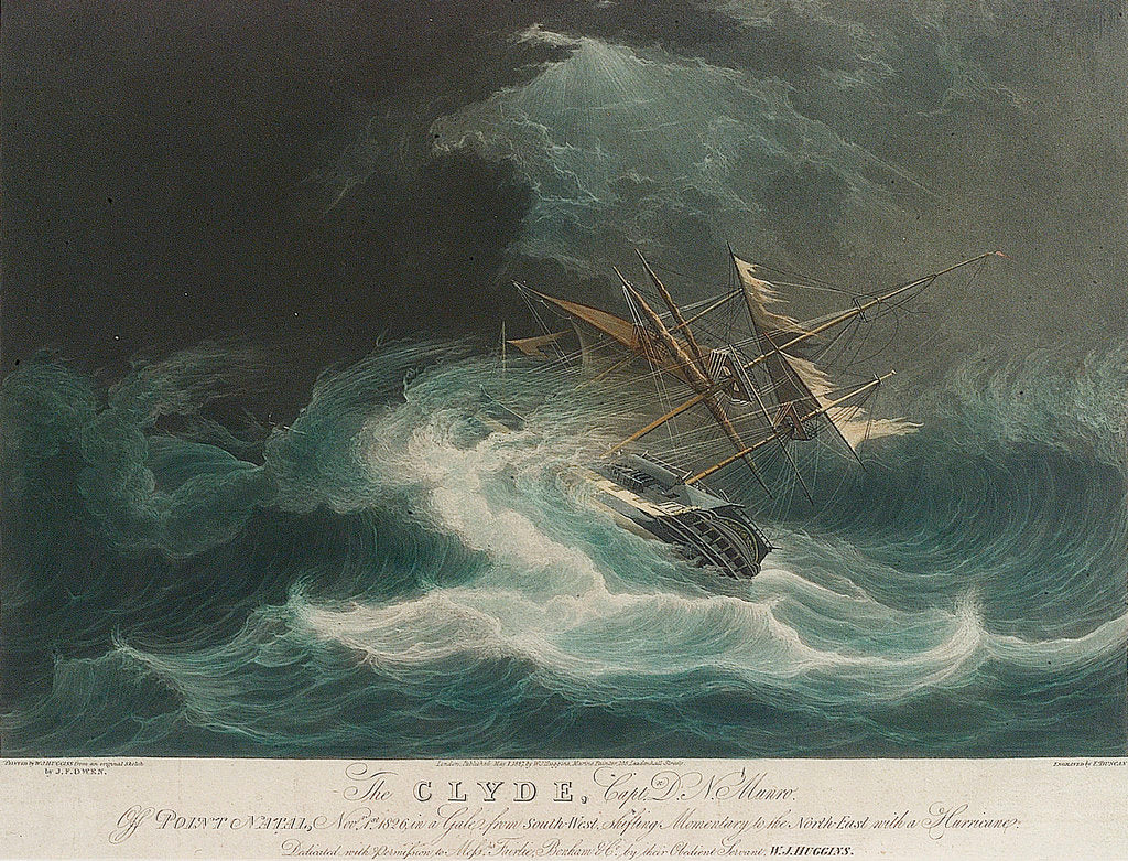 Detail of The Clyde, Capt D.N. Munro off Point Natal, Nov 1st 1826 in a gale.... Messrs Fairlie, Bonham & Co.... by J.F. Owen