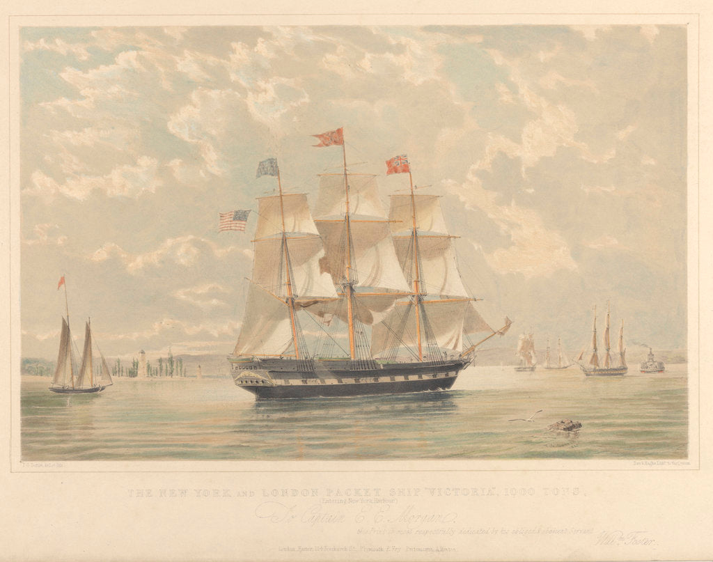 Detail of The New York and London Packet ship Victoria by Thomas Goldsworth Dutton