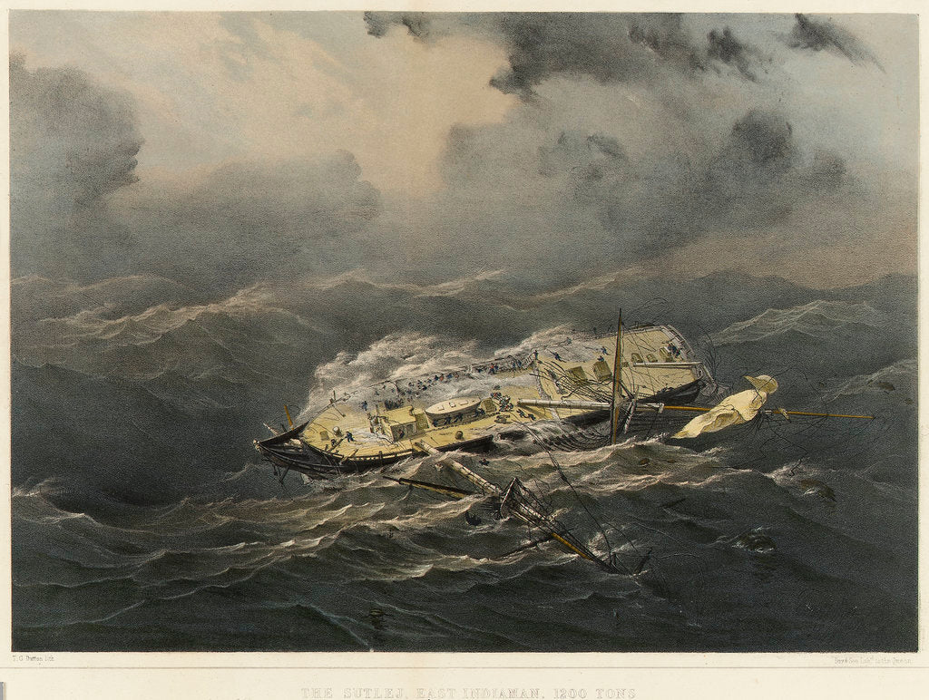 Detail of The East Indiaman 'Sutlej' in a hurricane by Thomas Goldsworth Dutton