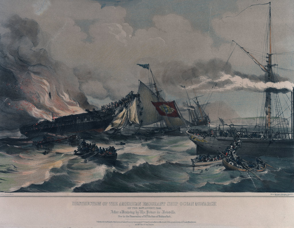 Detail of Destruction of the American emigrant ship 'Ocean Monarch' on the 24 August 1848 by A. Maclure