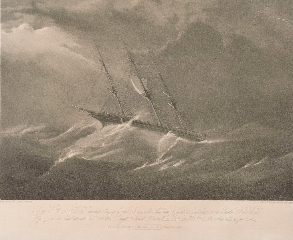 Detail of The 'Three Bells' on her voyage from Glasgow to Adelaide, South Australia, in a south west gale by James Cumming