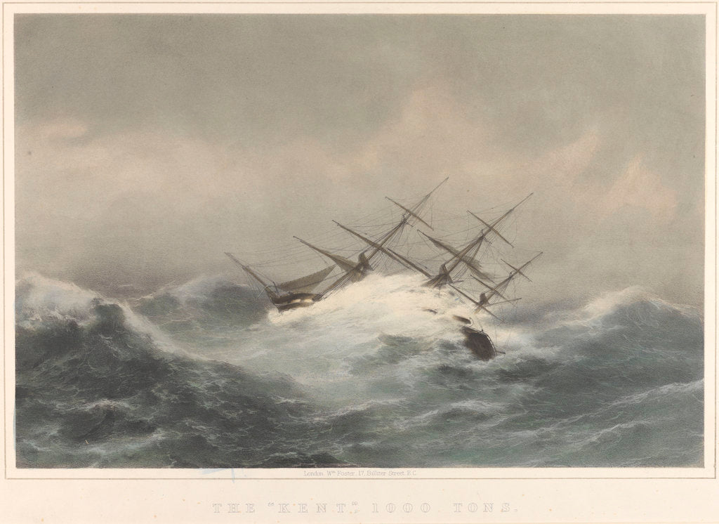 Detail of The 'Kent' (1853) 1000 Tons in a storm by William Foster