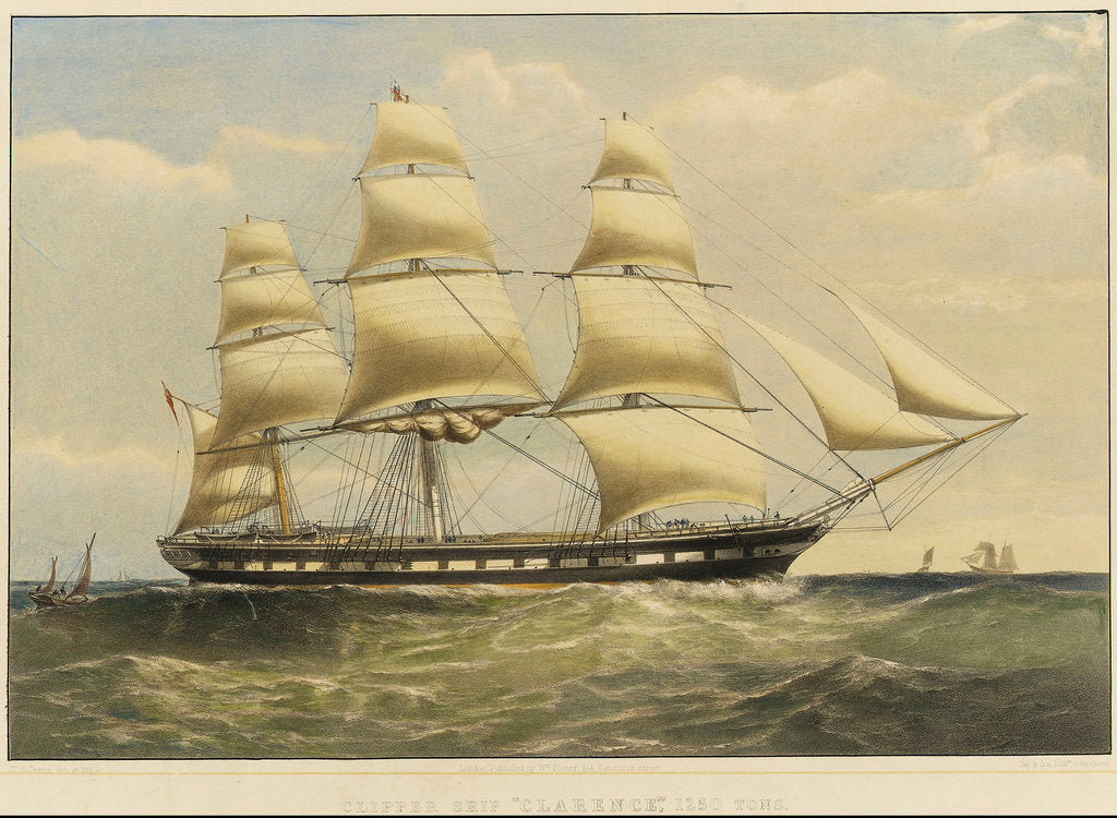 Detail of Clipper ship 'Clarence' by Thomas Goldsworth Dutton