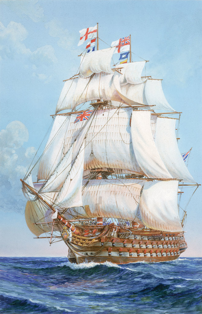 Detail of HMS 'Victory' under full sail by unknown