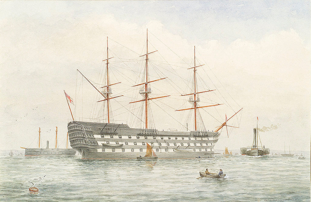 Detail of HMS 'Victory' in calm water near a coast by John Wilson Carmichael