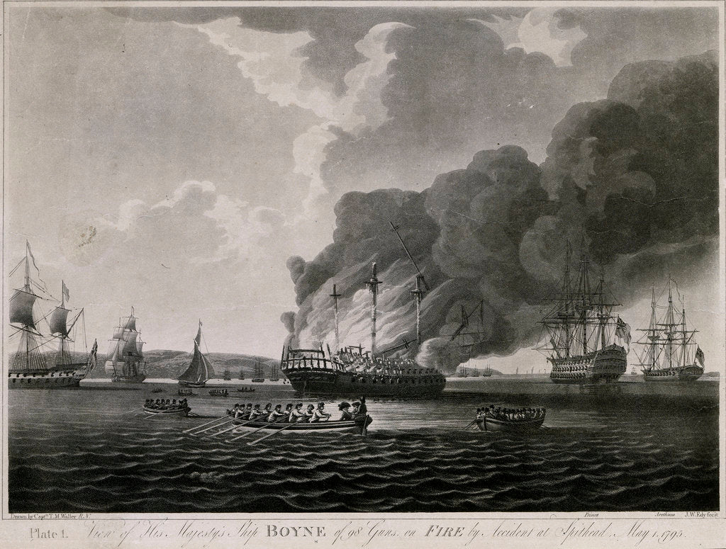 Detail of View of HMS 'Boyne' 98 guns, on fire by accident at Spithead, May 1795 by T.M. Waller