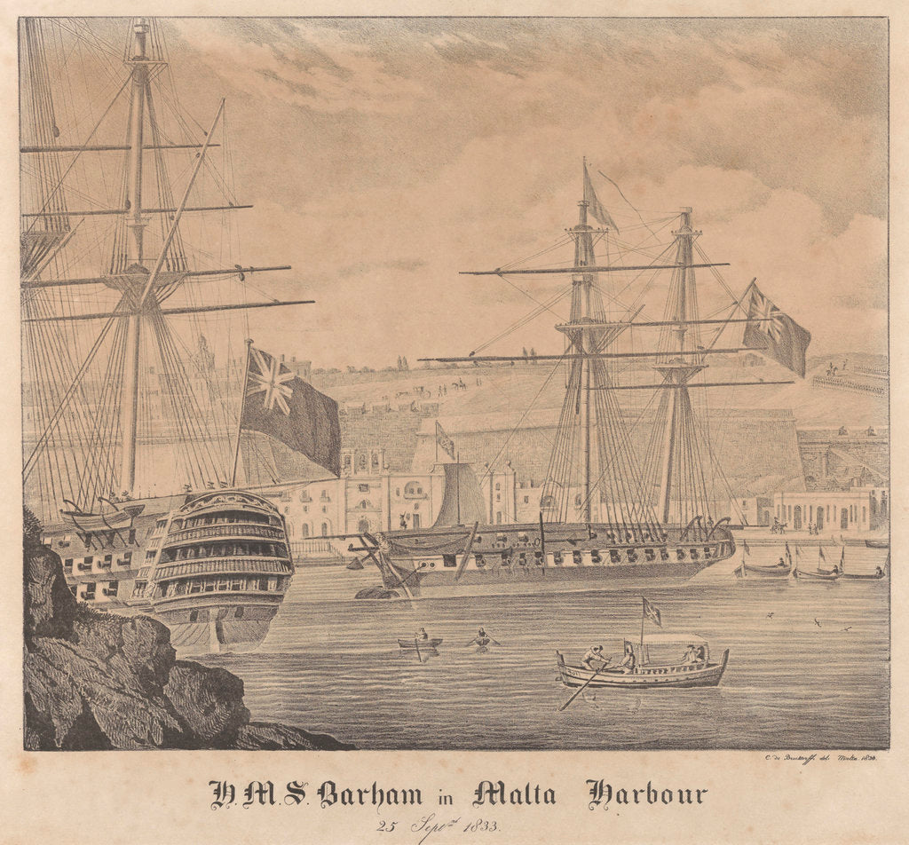 Detail of HMS 'Barham' in Malta Harbour 25 September 1833 by James Kennett Willson