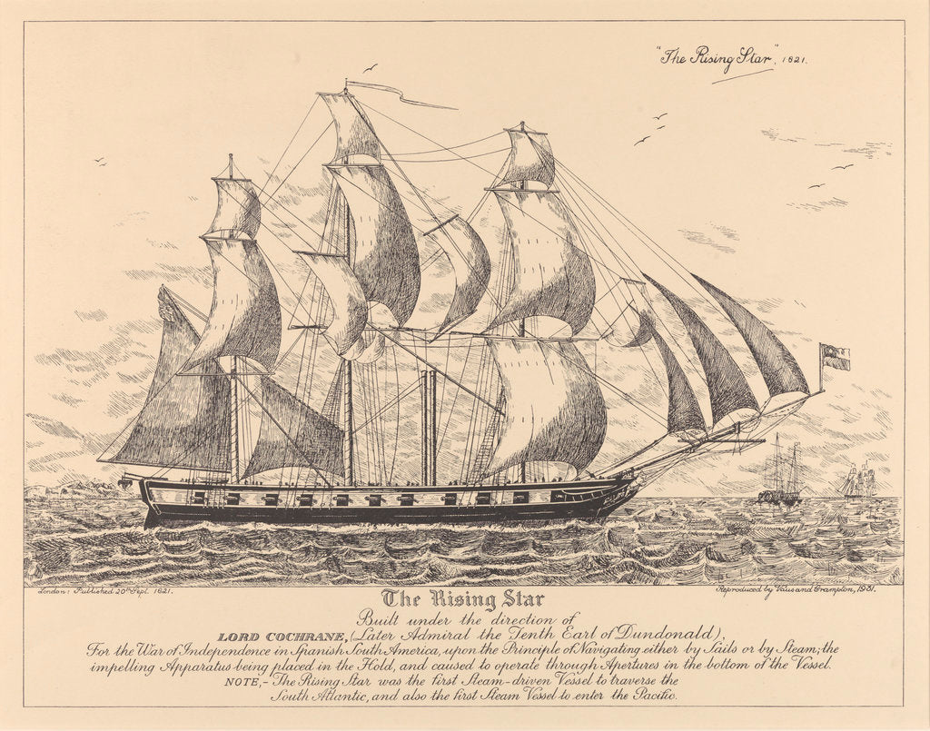 Detail of The 'Rising Star' (1821) built.... for the War of Independence in Spanish South America.... sails or by steam.... first Steam-driven Vessel to traverse the South Atlantic, and also the first Steam Vessel to enter the Pacific by Vaus & Crampton