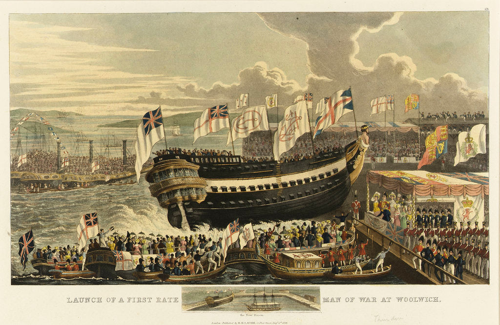 Detail of Launch of a first-rate man-of-war at Woolwich by Richard Holmes Laurie