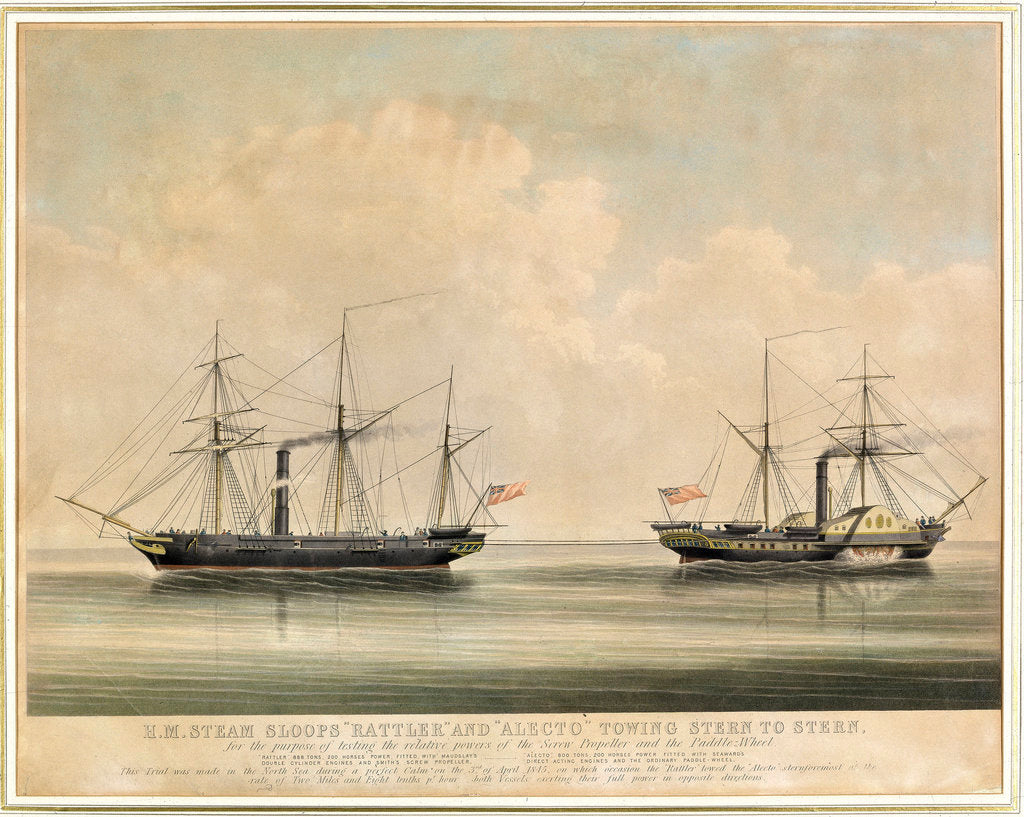 Detail of HM steam sloops 'Rattler' and 'Alecto' by unknown
