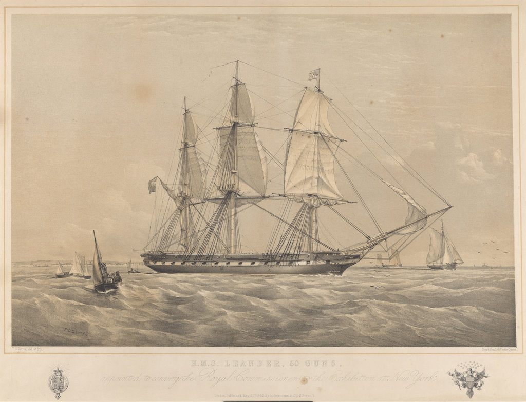 Detail of HMS 'Leander' (1848), 50-gun vessel, appointed to convey the Royal Commissioners to the Exhibition at New York by Ackermann