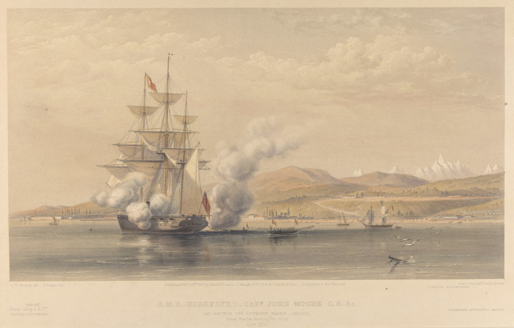 Detail of H.M.S. 'Highflyer' Captn John Moore C.B. &c. at anchor off Soukoum Kaleh-Abasia, Omar Pasha leaving the Ship, October 1855 by Oswald Walters Brierly (artist); Thomas Picken (engraver); Day & Son (printers); Paul & Dominic P & D Colnaghi & Co (publishers); Goupil & Co (publishers)