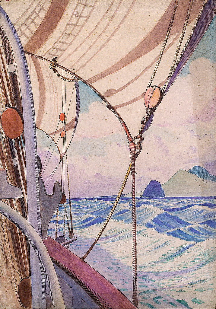 Detail of Details of rigging on the Kylemore with island (1) by John Everett