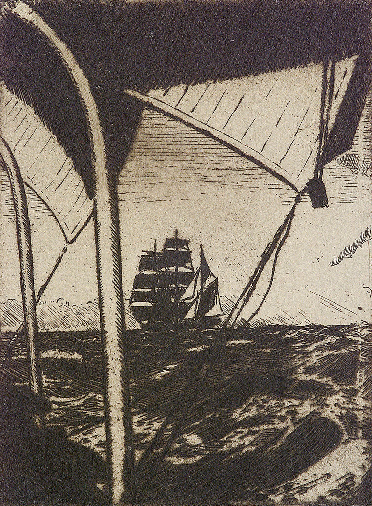 Detail of Distant sailing vessel seen through rigging by John Everett