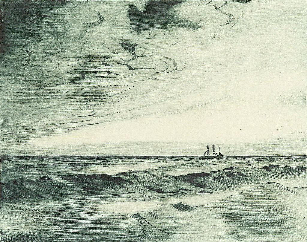 Detail of Distant sailing vessel on the horizon (1) by John Everett