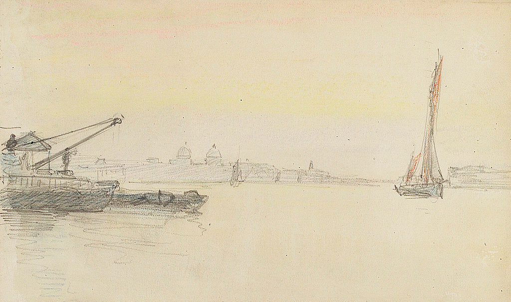 Detail of Sketch of various sailing vessels on the Thames at Greenwich by John Everett