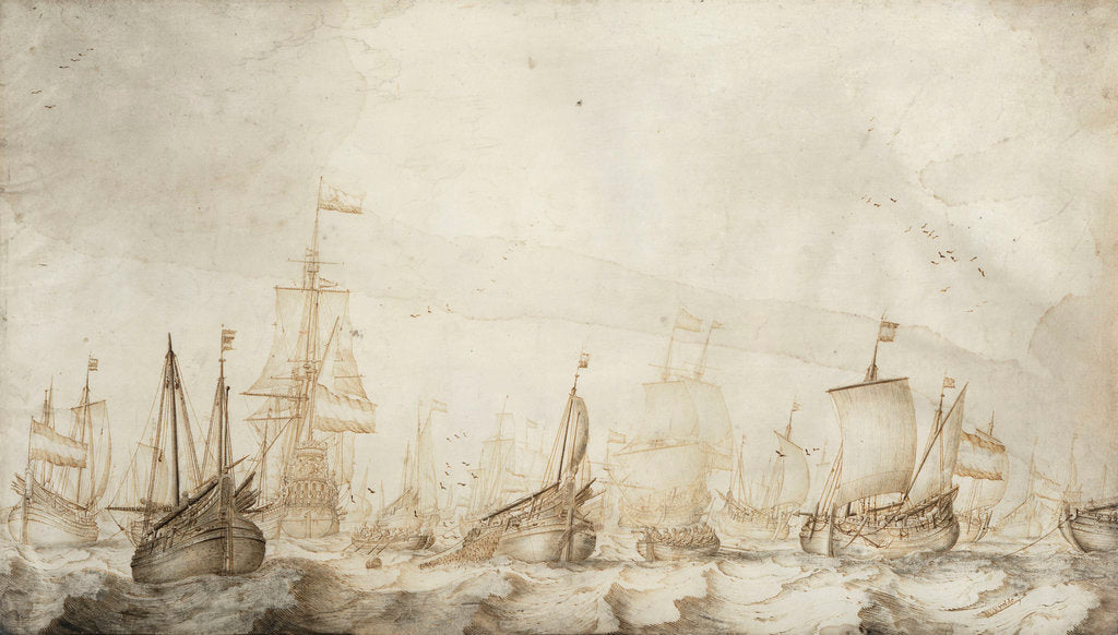 Dutch herring busses on the fishing ground by Willem van de Velde the Elder
