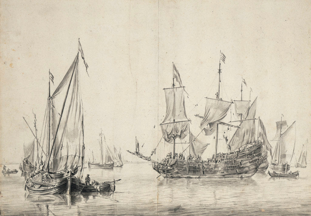Detail of A kaag with a Dutch frigate drying sails by Willem van de Velde the Elder