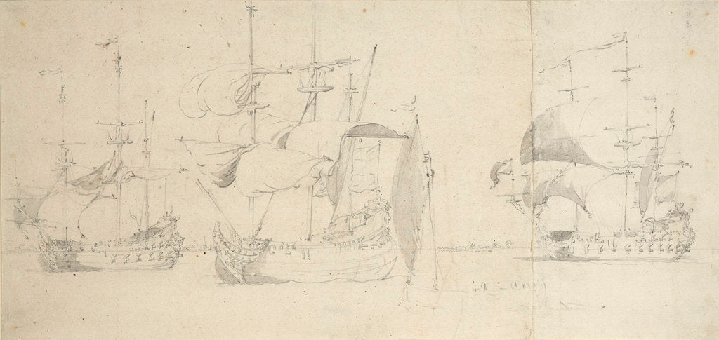 Detail of A flute, a Dutch merchantman and a frigate taking in sail in a light breeze by Willem van de Velde the Elder