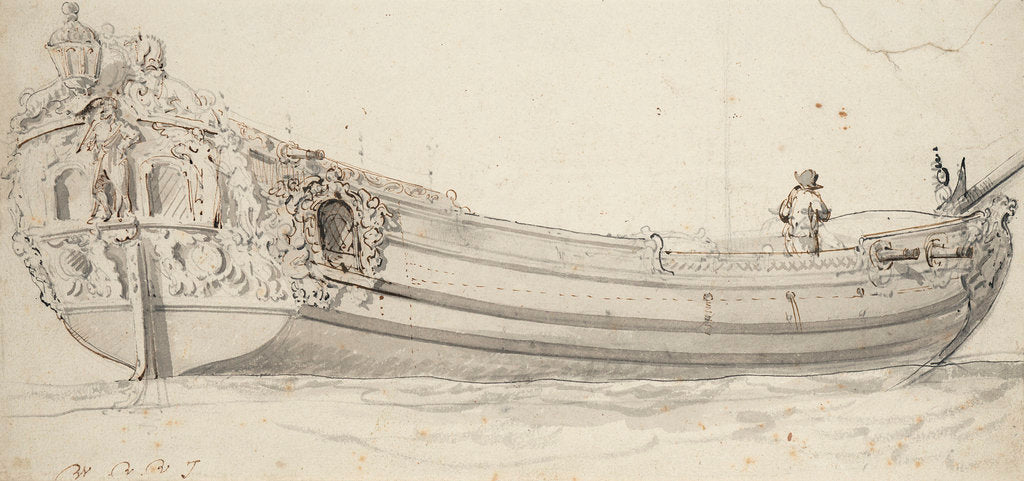 Detail of Portrait of the 'Charles' (?), yacht by Willem Van de Velde the Younger