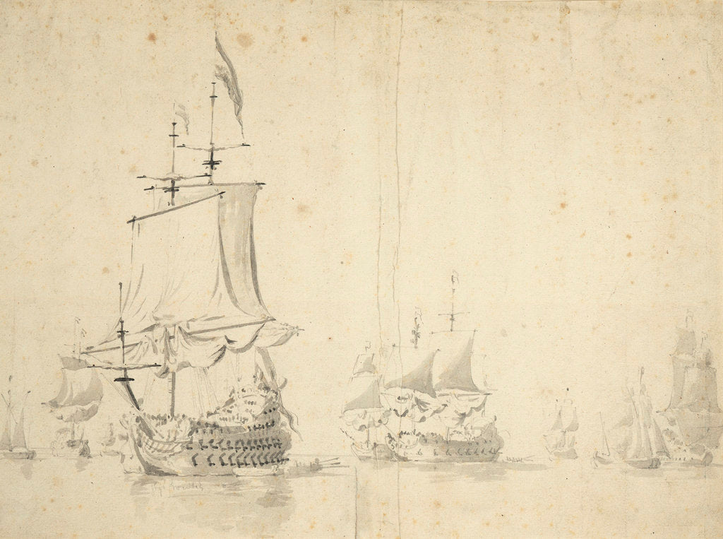 Detail of The 'Huis te Zwieten' and other ships becalmed by Willem van de Velde the Elder