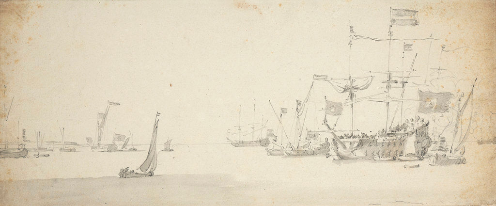Detail of A Dutch flagship at anchor with states yachts and other craft by Willem van de Velde the Elder