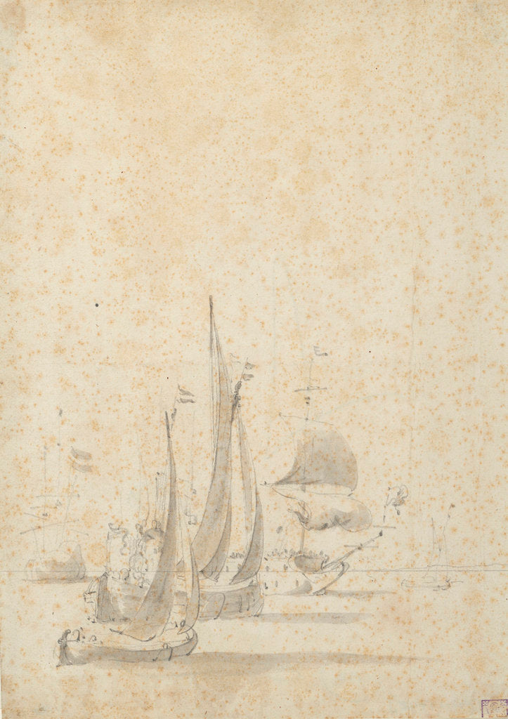 Detail of A wijdschip, boeier yacht and Dutch ships in a light breeze by Willem van de Velde the Elder