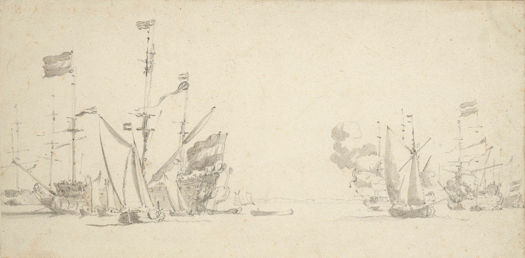 Dutch rear squadron at anchor by Willem van de Velde the Elder