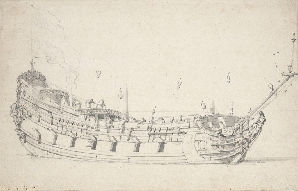 Detail of A Dutch frigate by Willem Van de Velde the Younger