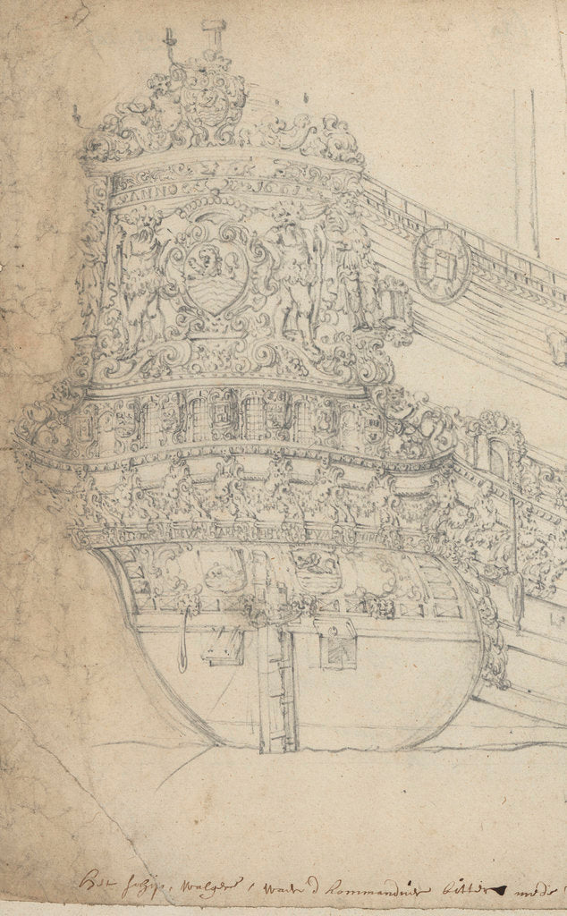 Detail of The stern of the 'Walcheren' by Willem van de Velde the Elder
