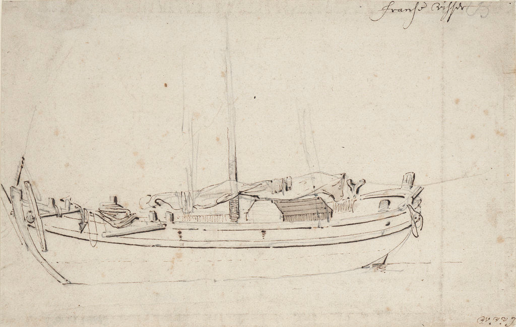 Detail of Study of a French fishing boat by Willem Van de Velde the Younger