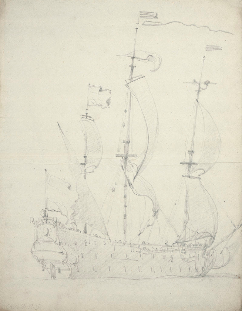Detail of A Dutch flagship with the wind abeam by Willem Van de Velde the Younger