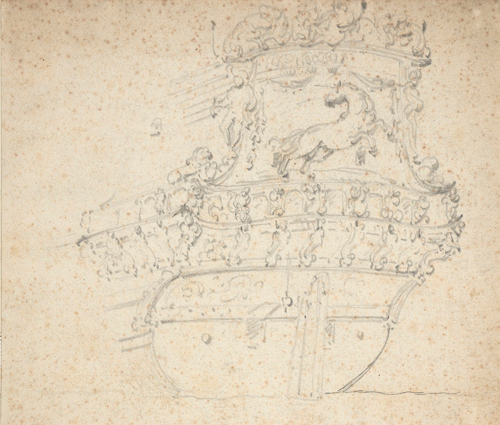 Detail of Stern of the 'Witte Eenhorn'? by Willem Van de Velde the Younger
