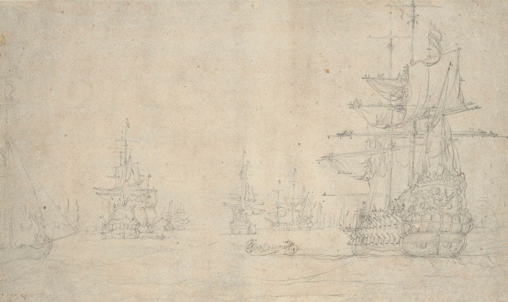 Detail of The 'Jupiter' and other ships at anchor, May 1672? by Willem van de Velde the Elder