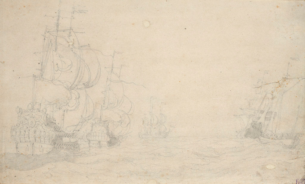 Detail of Dutch ships in a fresh breeze, May 1672? by Willem van de Velde the Elder