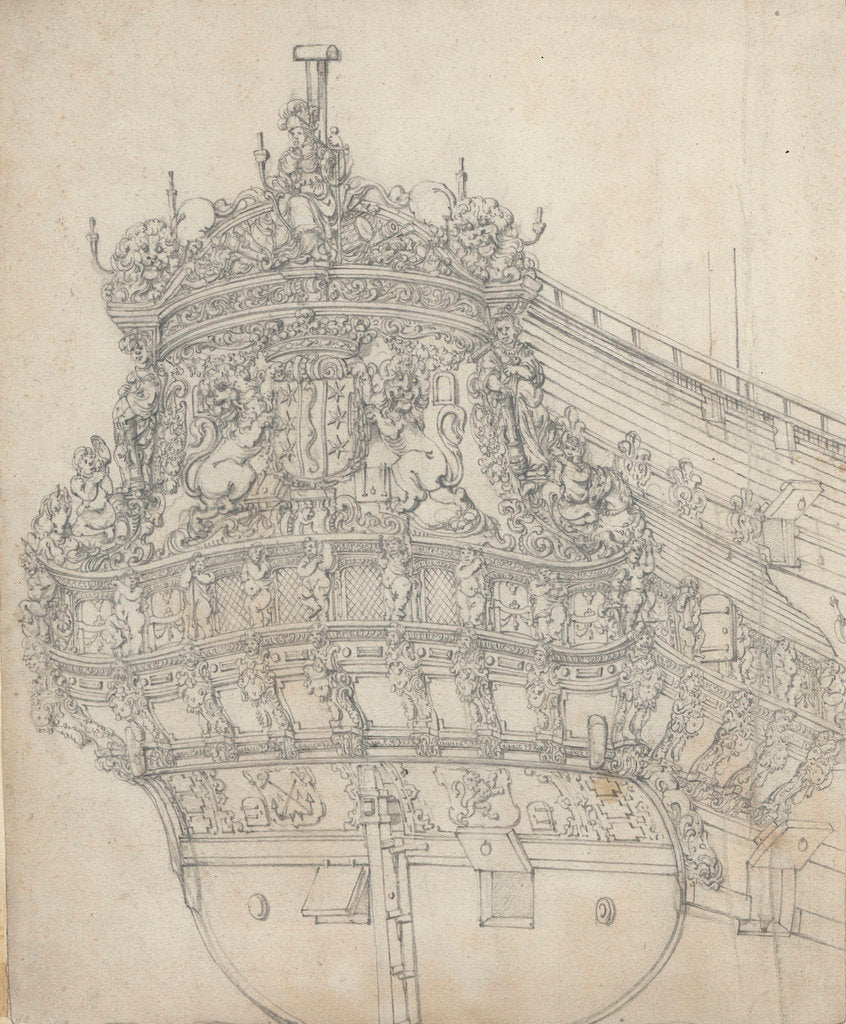 Detail of The stern of the 'Gouda' by Willem van de Velde the Elder