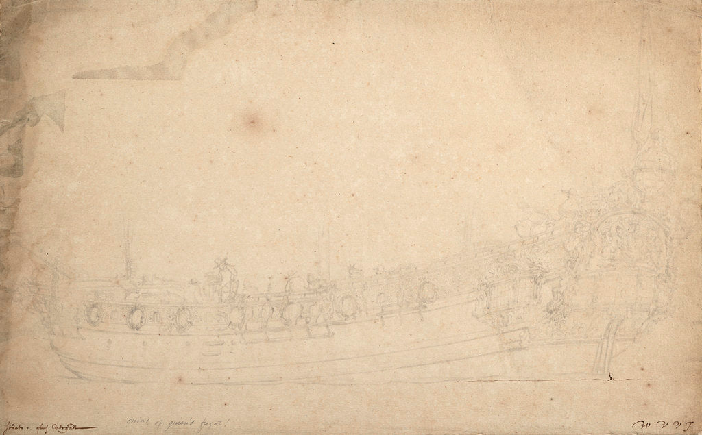 Detail of Portrait of the 'Saudadoes' by Willem Van de Velde the Younger