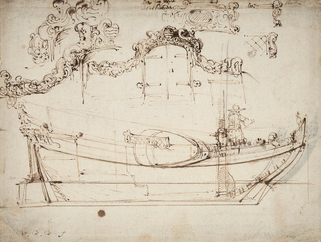 Detail of Sketch sheer plan by Willem Van de Velde the Younger
