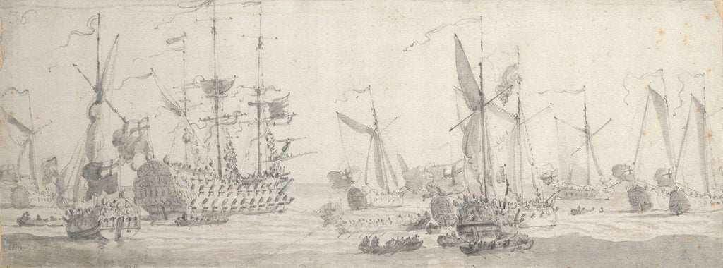 Detail of Visit of Charles II to the 'Tiger' at Woolwich: The King leaving one of the yachts by Willem van de Velde the Elder