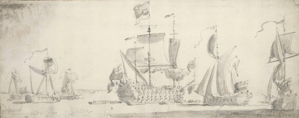 Detail of Visit of Charles II to the 'Tiger' at Woolwich: The 'Tiger' lying-to, surrounded by yachts by Willem van de Velde the Elder