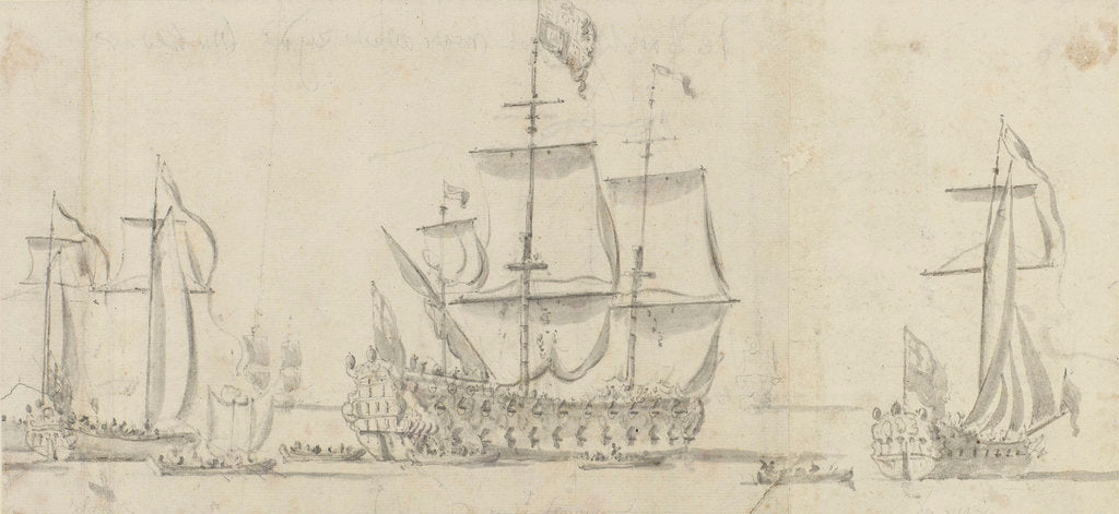 Detail of Royal (Charles II) visit to the 'Tiger' and passage down the Thames to Sheerness and Chatham - The 'Tiger' under way by Willem van de Velde the Elder