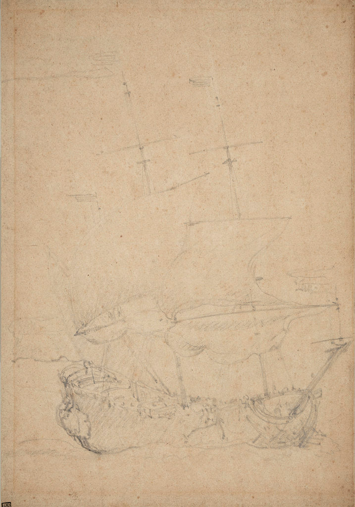 Detail of A Dutch ship close-hauled in a breeze by Willem Van de Velde the Younger