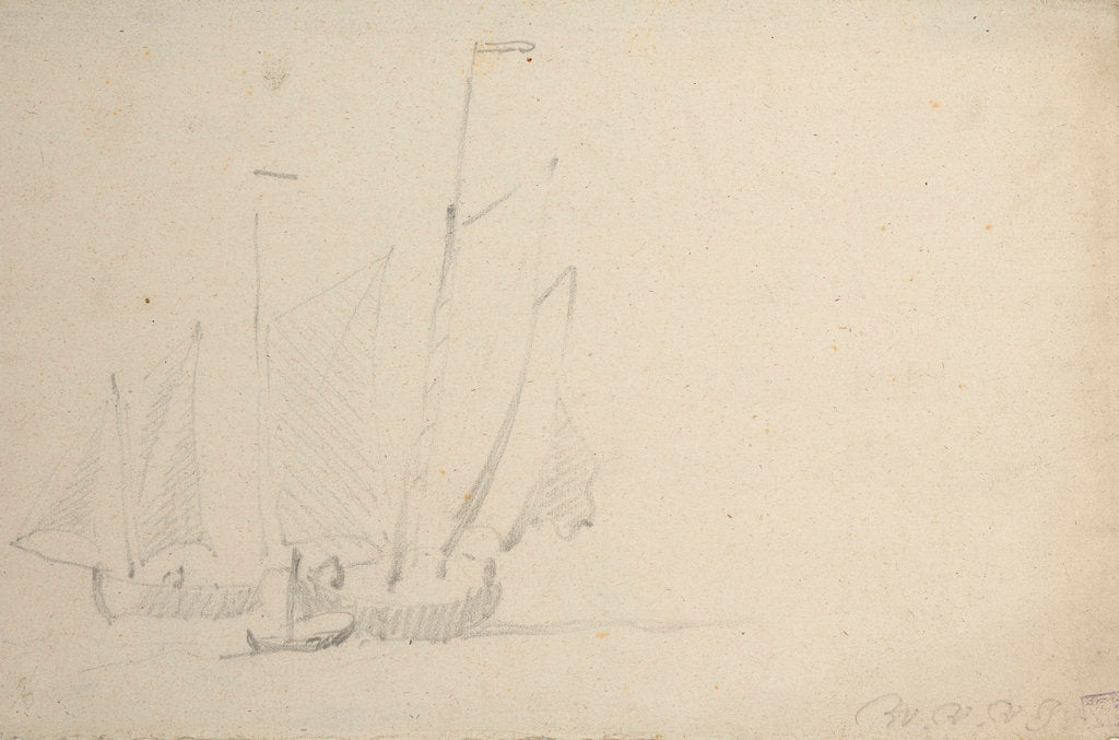 Detail of Two pinks under sail by Willem Van de Velde the Younger
