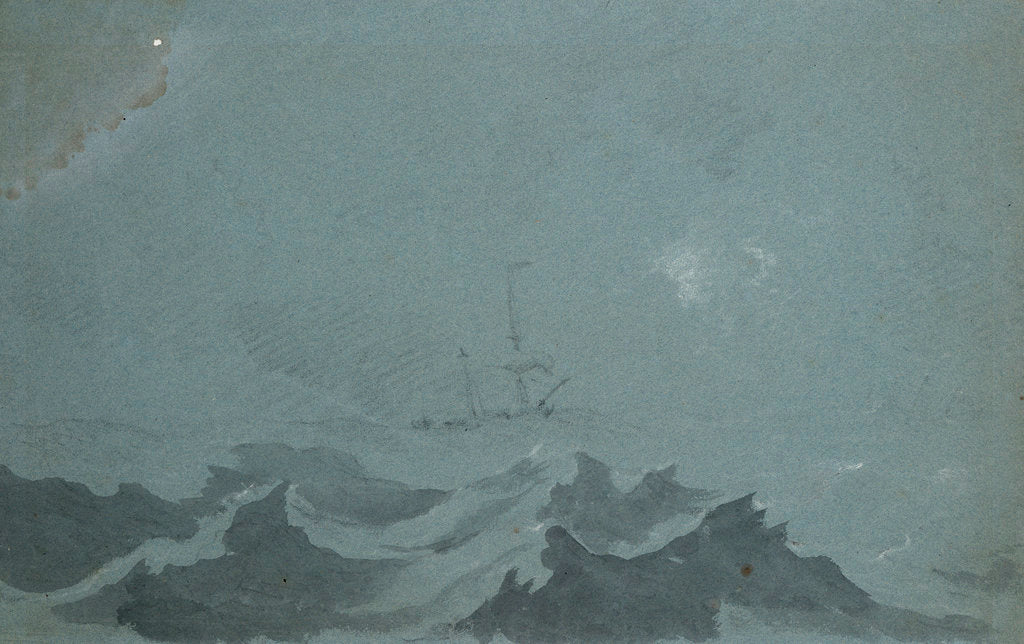 Detail of A dismasted ship scudding in a heavy sea by Willem Van de Velde the Younger