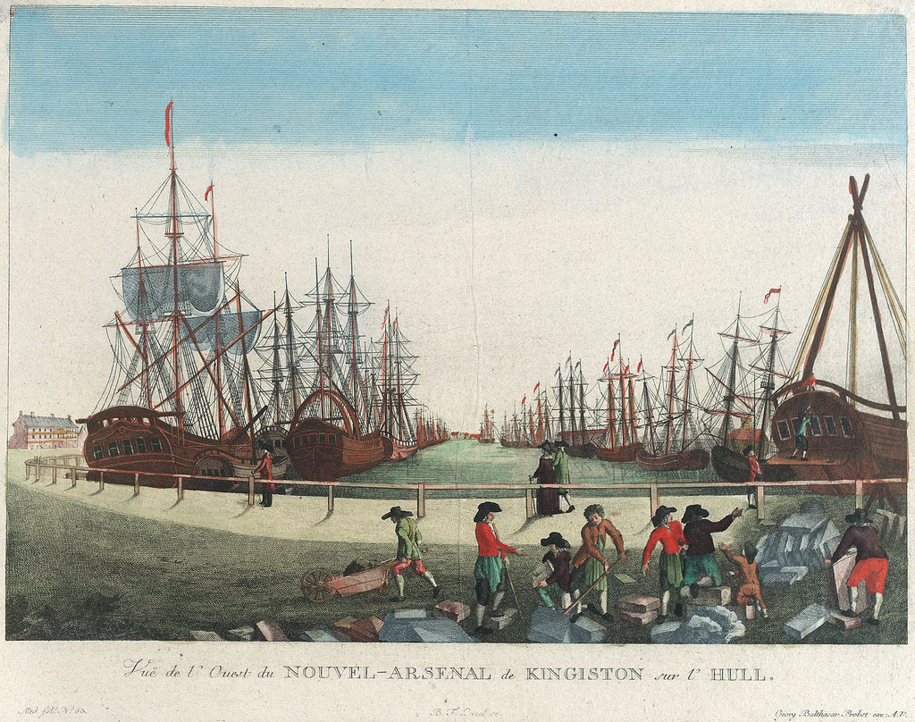 Detail of View of the dockyard in Kingston upon Hull by Balth Frederic Leizel