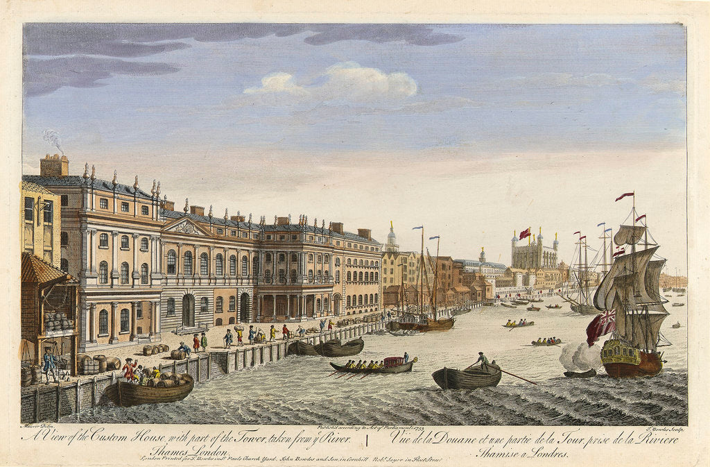Detail of A view of the Custom House with part of the Tower, taken from the River Thames, London by Maurer