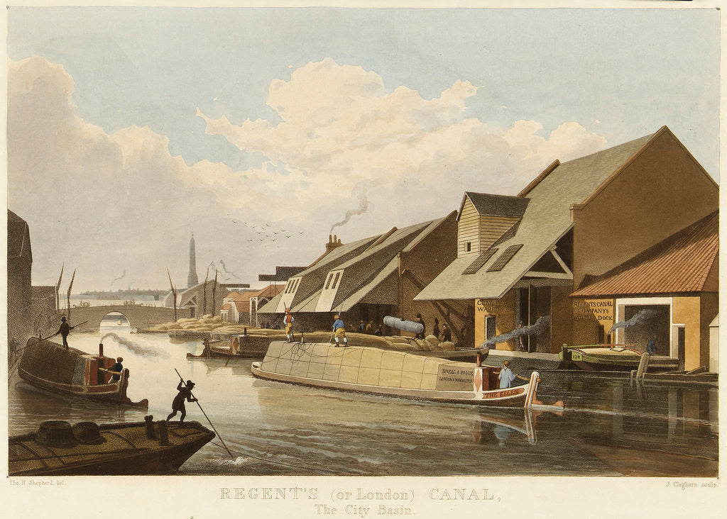 Detail of Regent's (or London) Canal, The City Basin by Thomas H. Shepherd